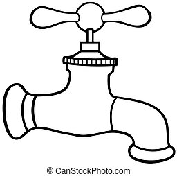 Outlined Water Faucet Cartoon Character