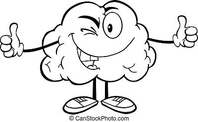 Outlined Winking Brain Character - Outlined Winking Brain...