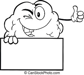 Outlined Winking Brain Over Sign