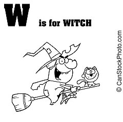 Outlined Witch With W Is For Witch Text