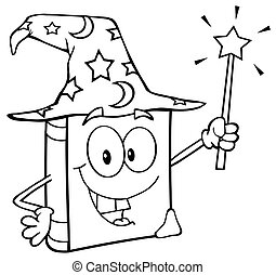 Outlined Wizard Book Cartoon