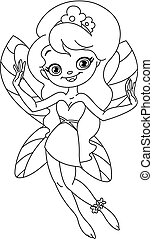 Outlined young fairy