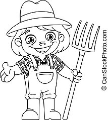 outlined young farmer