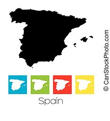 Outlines and Coloured Squares of the Country of Spain
