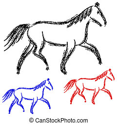 outlines., chevaux