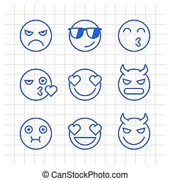 Outlines emoticons angry demon kiss nauseous love smile. Funny stickers
