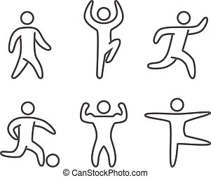 Outlines figures of athletes popular sports. Running and...