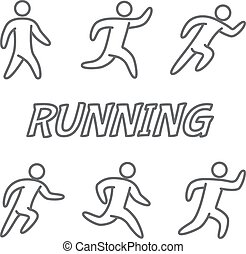 Outlines figures of runners