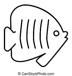 Outlines fish icon illustration on white background. Flat linear icon