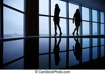 Outlines of businesswomen - Silhouettes of two businesswomen...