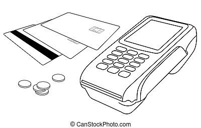 Outlines of POS terminal, credit cards and few coins -...