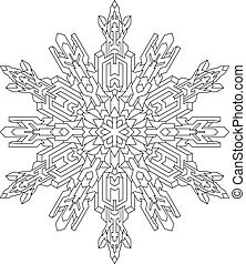 Outlines of snowflake in mono line style for coloring book. ...