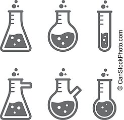Outlines of laboratory flasks. Medicine and chemistry
