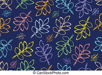 Outlines of twig of ash tree leaves on dark blue background, seamless pattern. Vector illustration.