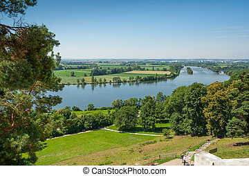 Outlook from the Walhalla at the river Donau near the city...