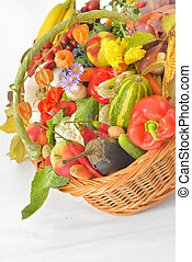 outonal, colheita, vegetal, e, fruta, em, cesta