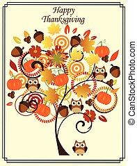 outono, árvore, ação graças