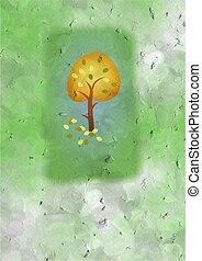 outono, árvore, cartão