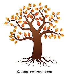 outono, árvore, com, raizes