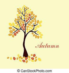 Outono, árvore, desenho, seu, elemento