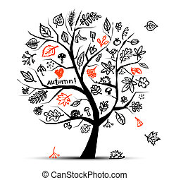 outono, árvore, esboço, desenho, para, seu, desenho