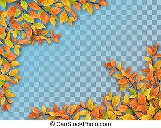 outono, árvore, folhas, jogo, ramos