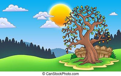 outono, árvore frondosa, paisagem