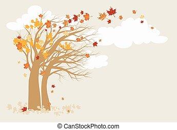 outono, árvore, fundo