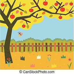 outono, árvore, jardim, fundo, maçã