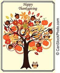 outono, árvore, obrigado