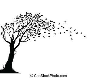 outono, árvore, silueta