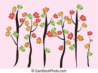 outono, árvore, vetorial, -, maple