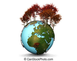 outono, árvores, ligado, globo mundial