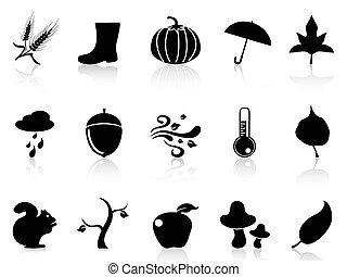 outono, ícones, jogo