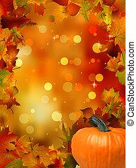outono, 8, abóboras, leaves., eps
