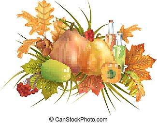 outono, ação graças, composição