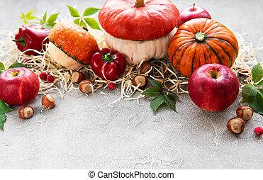 outono, abóboras, arranjo