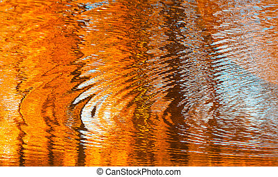 outono, abstratos, água, fundo, reflexões