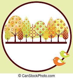 outono, abstratos, árvore, cartão cumprimento