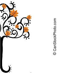 outono, abstratos, árvore, folhas
