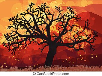 outono, abstratos, árvore