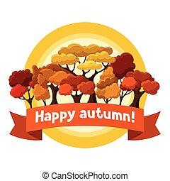 outono, abstratos, árvores, stylized, desenho, fundo