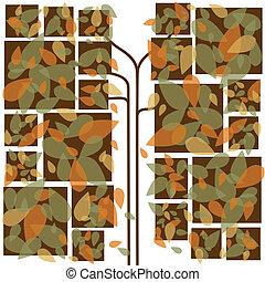 outono, abstratos, folhas, coloridos