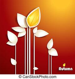 outono, abstratos, papel, folhas