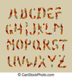outono, alfabeto, vetorial, latim