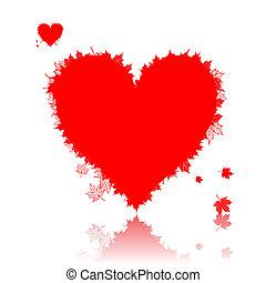 outono, amor, coração, forma folha
