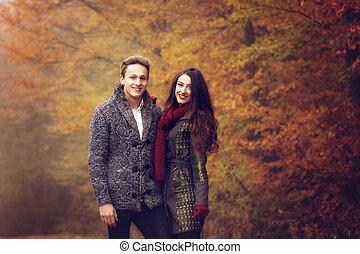 outono, andar, amantes, parque, mão