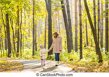 outono, andar, criança, parque, mãe