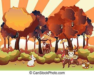 outono, animais, caricatura, floresta