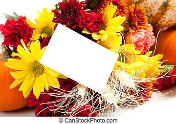 outono, arranjo floral, branco, com, um, nota, costas